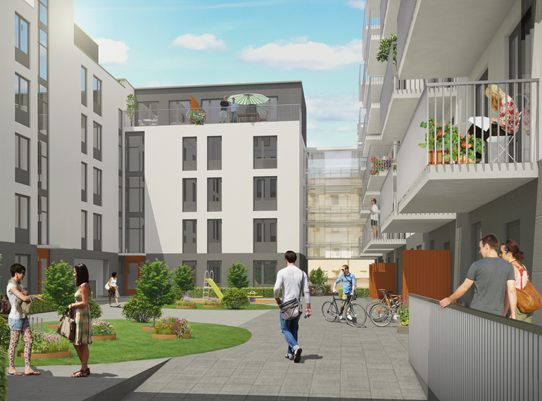 Små lägenheter med uteplatser